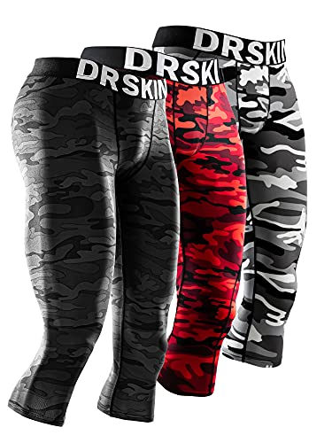 DRSKIN 1, 2 or 3 Pack Men's 3/4 Compression Pants Cool Dry Sports Baselayer Running Workout Active Tights Leggings Shorts (Line (MBB809+MGY810+MRE811), XL)