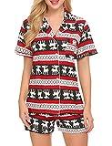 Ekouaer Sleepwear Womens Short Christmas Pajama Set(Christmas, Medium)