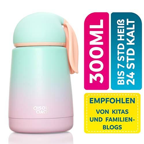 BISOU MAMI Edelstahl Thermoskanne für Baby und Kinder - Auslaufsichere Isolier-Flasche Cataleya in niedlichem Design - BPA freie Trinkflasche mit 100% Isolierung - Thermosflasche (Aqua Pink)