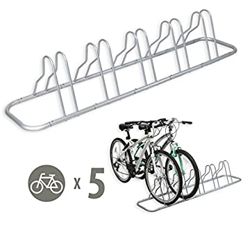 SimpleHouseware 5 Bike Bicycle Floor Parking Adjustable Storage Stand Silver