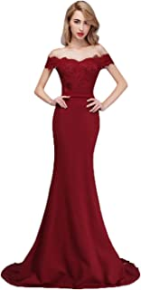 Honey Qiao Off The Shoulder Mermaid Bridesmaid Dresses Long Lace Prom Party Gowns