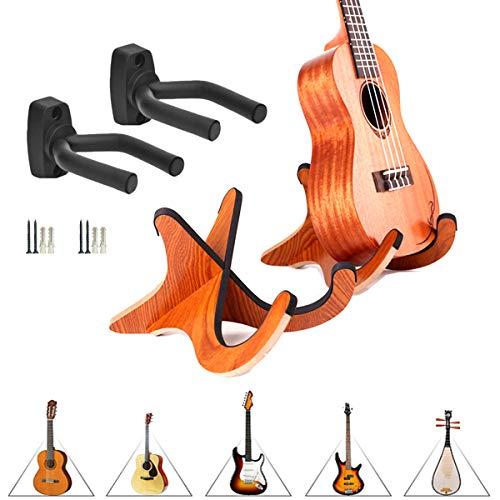 Gitarren Halter,Saijer Gitarrenhalterung Holz Echtholz Gitarrenständer Gitarrenständer Holz Klappbar Mit Schwammmatte Akustikgitarre Universal Gitarrenstativ A-Form Gitarrenhalterung 3PCS