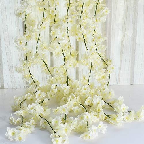 Homcomodar - Guirnalda de flores, A-Cherry Blossom Vines-blanco, 2 unidades
