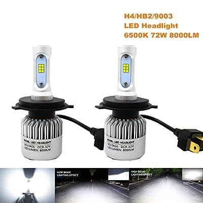 JSVSAL S2 8000 Lumens Extremely Bright CSP ChipsH4/HB2/9003/H13/9008 LED Hi/Lo Beam Headlights, Xenon White(2017 Model)