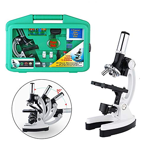 NNA Microscope for Kids with LED Light and Carrying Box 1200X Microscope Slides Specimens Educational Science Lab Toy Best Gift for Kids & Students w/ Complete Science Accessory Kit