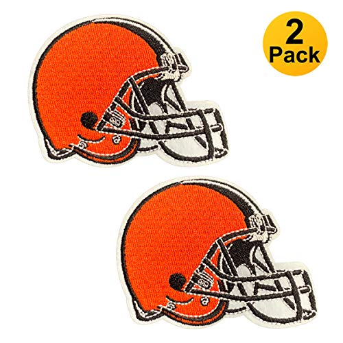 2-Pack NFL Cleveland Browns, Football Team Logo, Embroidered Patch, Iron On Sew On Appliques, Tactical Military Morale Hook and Loop Fasteners Backing Patches Sport Badge Emblem Sign(Size:2.8