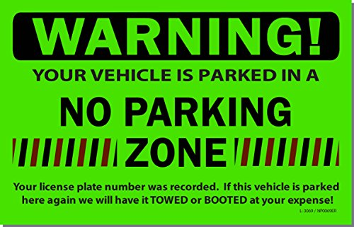 50 Green Fluorescent NO Parking Zone! Violation Towing Auto Car Window Stickers 8X5