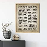 OCRTN Antike Kuhrassen Druck Rindfleisch Rinder Ranch Kunst