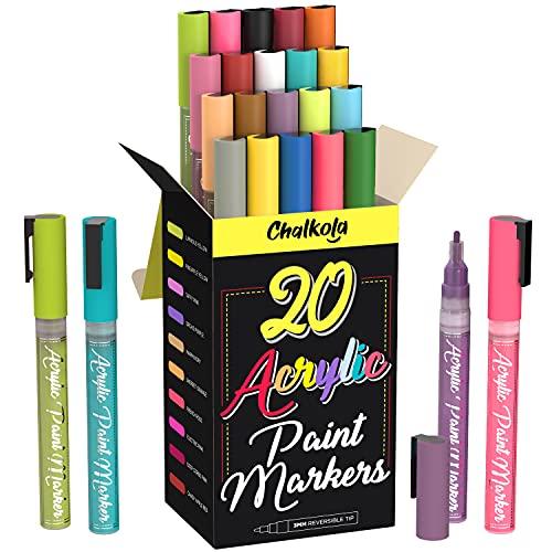 Rotuladores de pintura acrílica para pintura de roca, piedra, cerámica, vidrio, madera, lona, juego de 20 colores, punta fina a base de agua