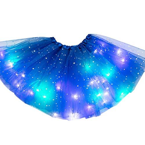 HANBOLI Niños Niñas LED Light Up Glitter Star Lentejuelas Ballet Danza Tul Tutu Falda 3-12T