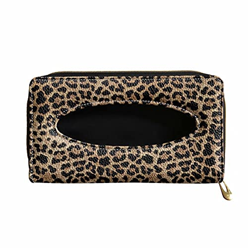 XYZCANDO Classic Leopard Print Tissue Mask Holder for Car, Napkin Cover Case with 2 Hook, Auto Visor Mask Holder PU Leather Tissue Box, Zipper Close Car Accessories for Women Lady (Brown)
