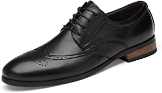 HongJie Hou Genuine Leather Brogue Carving Shoes for Men Businees Dress Wedding Fashion Loafers Anti-Slip Flat Breathable Round Toe Lace Up (Color : Black, Size : 9 UK)