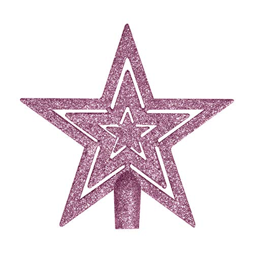 By Robelli 18cm Blush Light Pink Cut Out Glitter Star Christmas Tree Topper Decoration