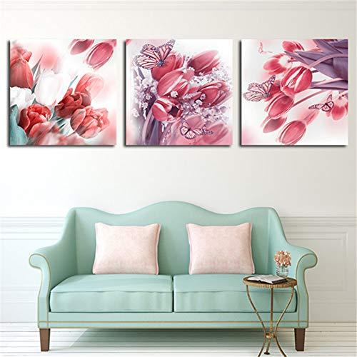 MMLXHH 3 Kunstgemälde 40x40 cm3 Panel Moderne Abstrakte Blumenmalerei Auf Leinwand Wandkunst Blumen Bild Home Room Decor Für Wohnzimmer