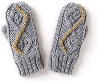 XAZTY Gloves, Flower-Shaped Knit Thicken Plush Warm and Smooth Soft Mittens