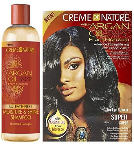 Creme of Nature mit Arganöl No-Lye Relaxer - SUPER mit sulfatfreiem Shampoo (2er Set)