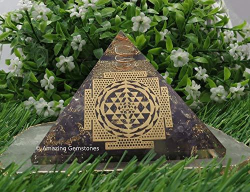 Pirámide de piedra preciosa de amatista Orgone para EMF y protección de energía negativa, pirámide de cristal de amatista natural (Sri Yantra - grande)