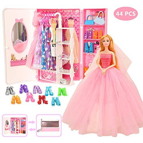 Miunana 39 Accesorios para Barbie 11.5 Pulgada 30CM Muñeca: 1 Armario + 11 Vestidos Ropa + 5 PCS Zapatos + 10 Perchas + 6 Collares + 6 Coronas