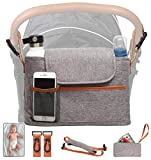 Yourscent Baby Stroller Organizer with Cup Holders Insulated, Waterproof, ACCESSORIES INCLUDED, Large Storage, Universal Fit, Stroller Caddy for Baby Shower