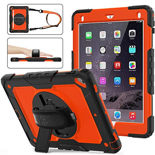 iPad 6th/5th Generation Case, SEYMAC Stock [Full-body] Drop Proof Hybrid Armor Case with 360 Rotating Stand [Pencil Holder][Screen protector] Hand Strap for iPad 6th/5th/ Air 2/ Pro 9.7 (Orange+Black)