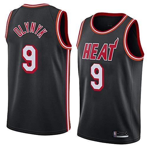Jersey De Baloncesto para Hombres - NBA Miami Heat # 9 Kelly Olynyk Jersey - Nueva Edición Vestido Transpirable De Secado Rápido De La Edición En V,Negro,XXL(185~190cm)