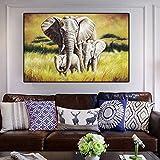 ganlanshu Elefante y bebé Lienzo Arte de la Pared Animales Carteles y Fotos decoración de la Pared para la Sala de Estar del hogar70x105cmPintura sin Marco