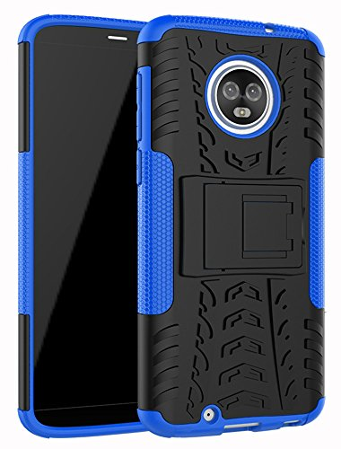 "Moto G6 Case,Yiakeng Dual Layer Wallet Accessories Bumper Hard Protective Flip Waterproof Phone Cases Cover with A Kickstand for Motorola Moto G (6th Generation) 5.7"" (Armor Blue)"