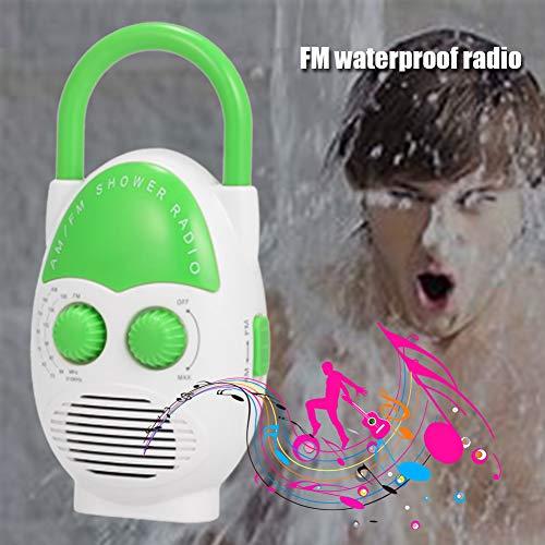 Alicer Wasserdichtes Duschradio, spritzwassergeschützter Minilautsprecher AM FM-Radio Kartenspieler mit hängendem oberen Griff und Einstellbarer Lautstärketaste einlegen