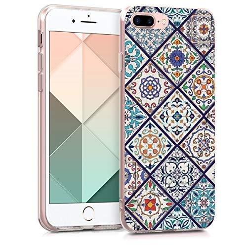 kwmobile Hülle kompatibel mit Apple iPhone 7 Plus / 8 Plus - Handyhülle - Handy Case Marokkanische Fliesen Mehrfarbig Blau Orange Weiß