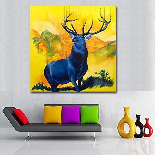 tzxdbh Nordic Deer Canvas Schilderen Abstract Kunst Dier Schilderen Voor Woonkamer Muurkunst Posters En Prints Home Decor-in Schilderij & Kalligrafie van Grou 70x70CM No Frame