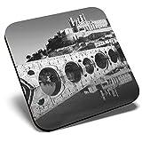 Gran posavasos cuadrado BW - Catedral de San Nazaire Francia | Posavasos de calidad brillante | Protección de mesa para cualquier tipo de mesa #38117