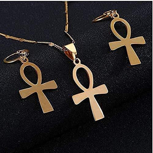 CCXXYANG Co.,ltd Collar Acero Inoxidable Cruz Egipcia Vintage La Llave De La Cruz Colgante Collar Pendiente Conjuntos De Joyas Oro