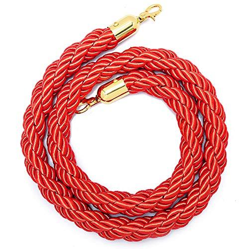 Aweisile Cuerda de Barrera de 1,5M Queue Cuerda Barrera Cuerda de ampliación Queue Barrier Cinturón Barrera Rojo con ganchos para Cuerda de control de multitudes ✅