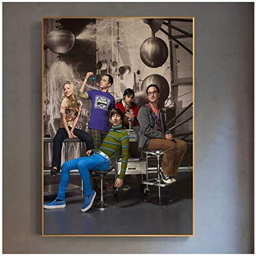 Shmjql Vintage Filmplakat The Big Bang Theory Wandkunst Gemälde Leinwand Bilder für Wohnzimmer Home Decor Kinderzimmer Dekor-24x36inch No Frame