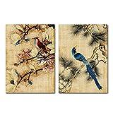 wekeke Pintura de Plantas de Flores y pájaros Cartel Moderno de desolación casera Cuadros de Pared de Arte Vintage para Sala de estar-40X60Cmx2 Piezas Sin Marco