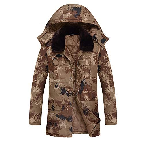 CLOTHES Thick Winter Langer Abschnitt Militärmantel,Camouflage warme Kapuzenjacke Herren große Größe