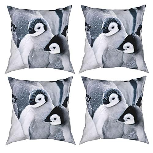 Mgbwaps Pinguin im Schnee, 4er-Set, dekorative Kissenbezüge, 50,8 x 50,8 cm, quadratische Kissenbezüge, Kissenbezug für Couch, Sofa, Wohnzimmer