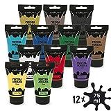 Starplast Pack 12 Pinturas Acrílicas En Tubo, Pintura Brillante, Lavable, 75 ml, para Lienzos, Papel, Cerámica, Madera, etc, 12 Colores
