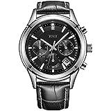 BUREI Herren Chronograph Uhren Einfaches Classic Quarz Armbanduhr mit Weißem-Zifferblatt Datum Kalender (Schwarz)