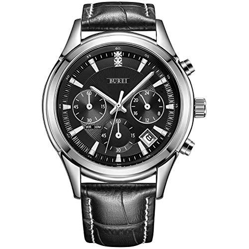 BUREI Herren Uhren Chronograph Quarzuhr Klassisch Armbanduhr schwarz-Zifferblatt Datum Kalender mit lederarmband