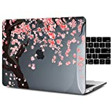 Dongke Case for Newest MacBook Pro 13 with Black Keyboard Cover Crystal Hard Sleeve for 13 Inch MacBook Pro with/without Touch Bar Model: A2159/A1989/A1706/A1708 (2016-2019 Release) (Cherry Blossoms)