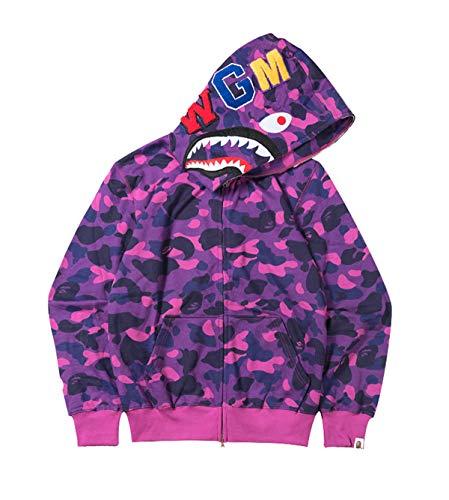 Men s A Bathing Ape BAPE Shark Head Thin Coat Full Zipper Camouflage Jacket Hoodie