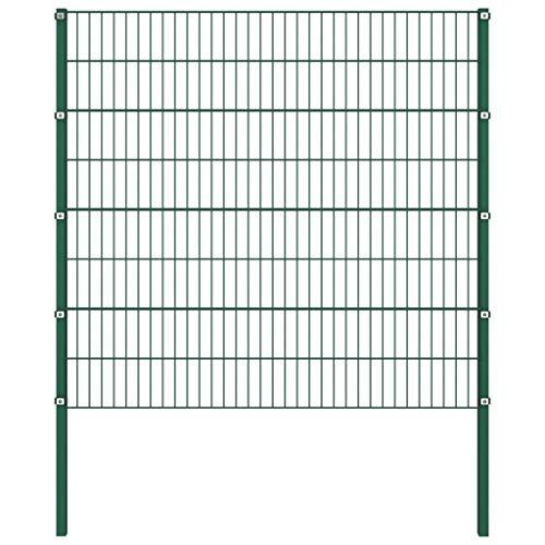 Festnight Panel de Valla con Postes Hierro Vallas para Jardin Metalicas Verde 1,7x1,6 m