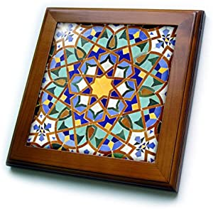 """3dRose ft_73580_1 Morocco, Hassan II Mosque Mosaic, Islamic Tile detail-AF29 KWI0018-Kymri Wilt-Framed Tile, 8 by 8"""""""