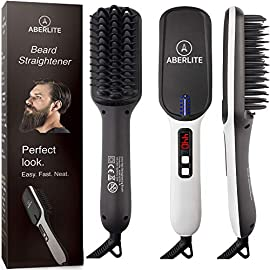 - 51l1oZJtftL - (UPGRADED) Aberlite MAX Beard Straightening Heat Brush Comb Ionic for Men