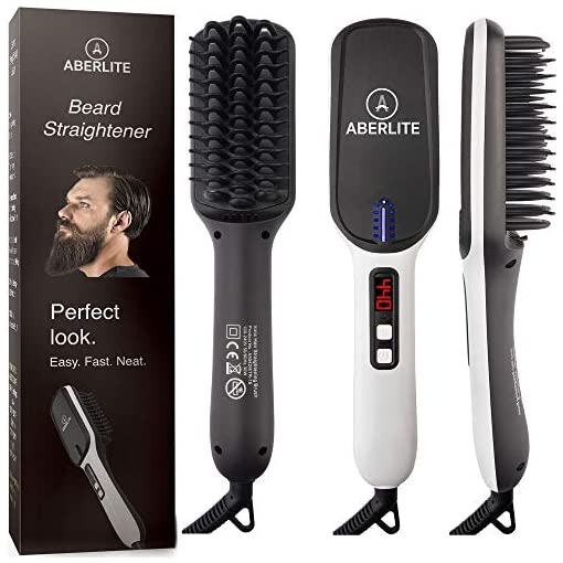 - 51l1oZJtftL - (UPGRADED) Aberlite MAX Beard Straightening Heat Brush Comb Ionic for Men