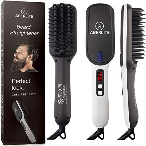 (UPGRADED) Aberlite MAX - Beard Straightener for Men - Beard Straightening Heat Brush Comb Ionic - 5 Heat Settings Up to 440F - For Home & Travel