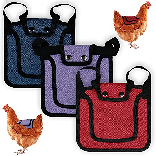 3 Pieces Premium Chicken Saddles with Adjustable Strap, Hen Saddle Sweater Clothes, Birds Protector for Back and Sides, Poultry Accessories for Hens, Suitable for 5-7.6lbs, Red & Blue & Purple