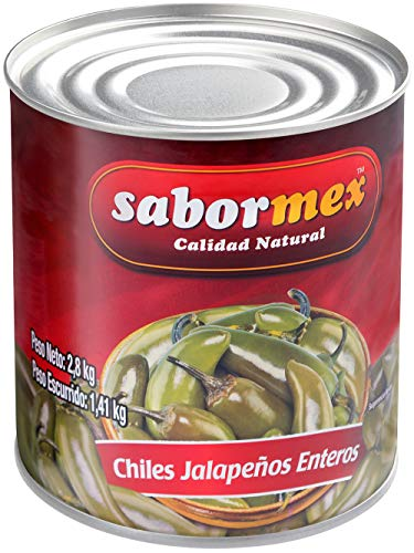 SABORMEX Chile Jalapeño Entero 2,8 kg Producto Natural Sin Conservantes ni Colorantes Vegano