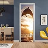 Mural de puerta extraíble, pegatina de puerta 3D, autoadhesivo, decoración de pared, dormitorio, oficina, decoración de la casa, delfín